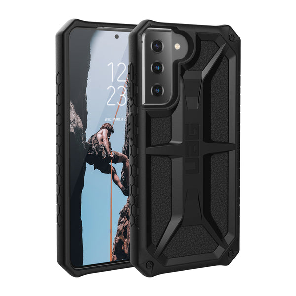 Anti backterial case for your Galaxy S21 5G from UAG Australia. Black minimalist design with drop protection. dual function & germ free