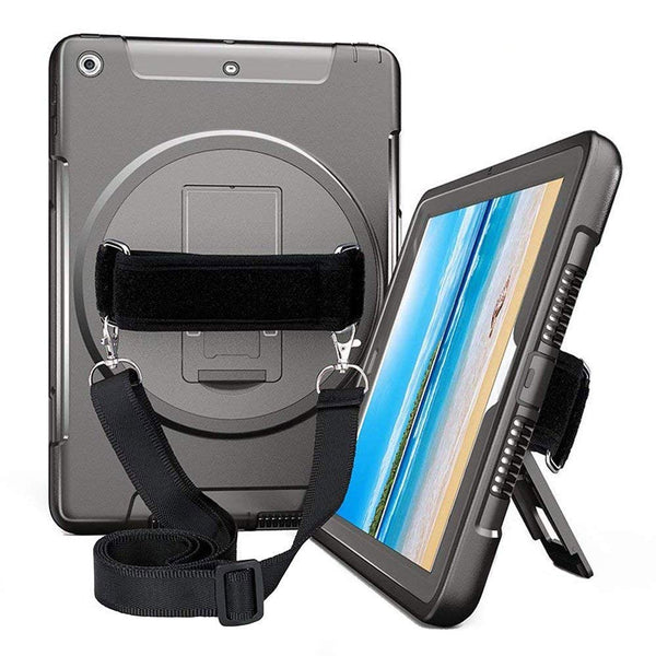 ipad 9.7 inch case with hand straps black color. buy at syntricate with afterpay payment