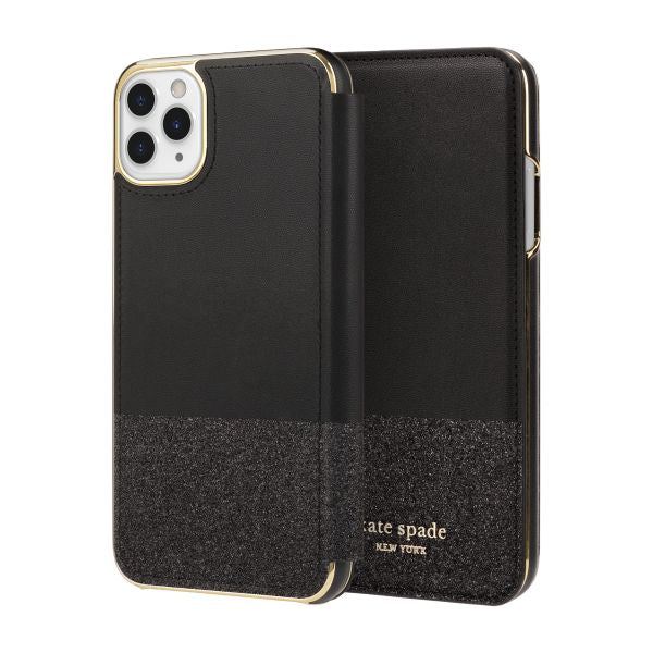 iphone 11 pro max folio black gold case from kate spade new york