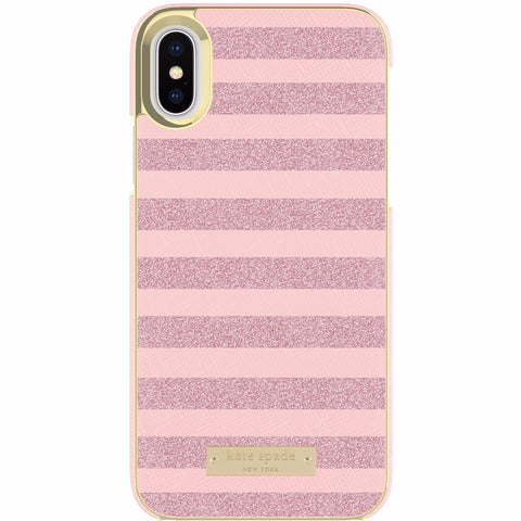 KATE SPADE NEW YORK WRAP CASE FOR iPHONE XS/X - GLITTER STRIPE ROSE QUARTZ SAFFIANO / ROSE GOLD