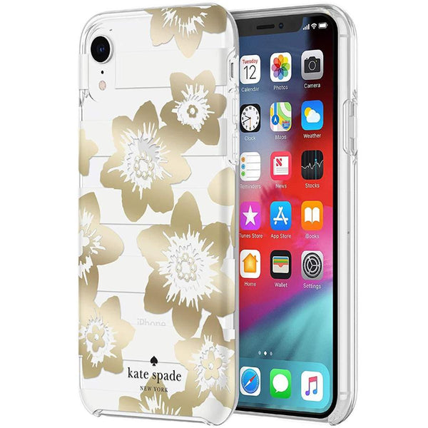 flower pattern case gold colour for iphone xr from kate spade