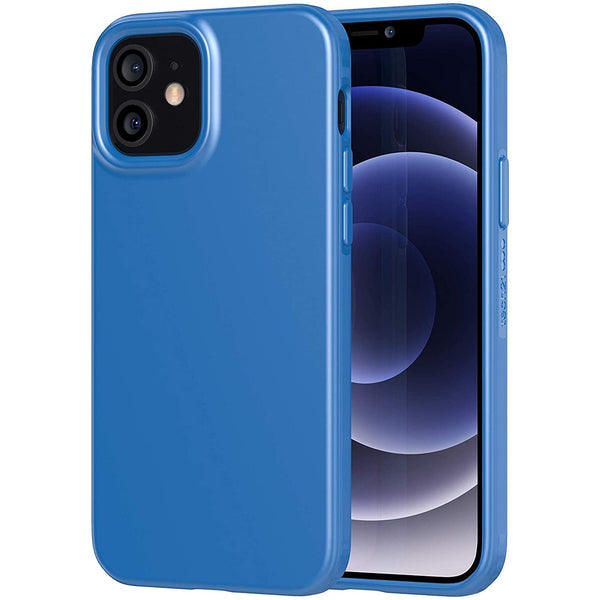 show off your new iphone 12 mini 2020 with slim case blue colour silicone case with anti bacterial