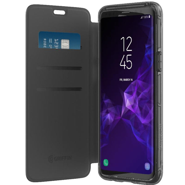 GRIFFIN SURVIVOR CLEAR WALLET FOLIO CASE FOR GALAXY S9 - BLACK