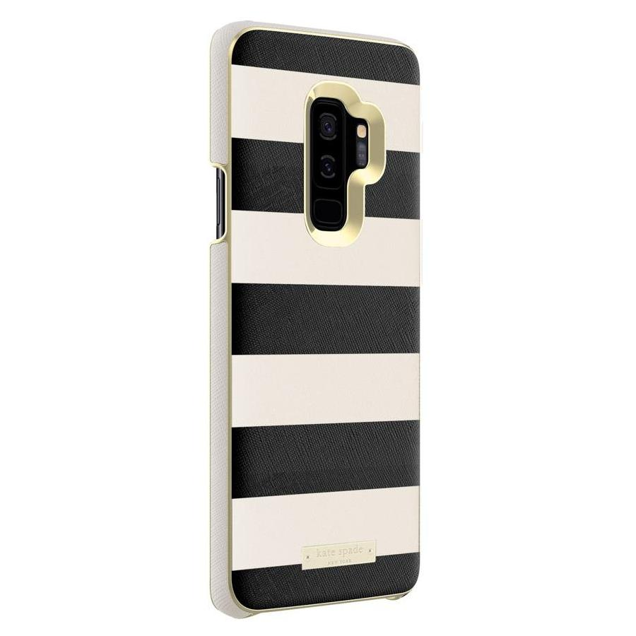 KATE SPADE NEW YORK WRAP INLAY CASE FOR GALAXY S9 PLUS - SAFFIANO BLACK/WHITE STRIPE/GOLD LOGO PLATE Australia Stock