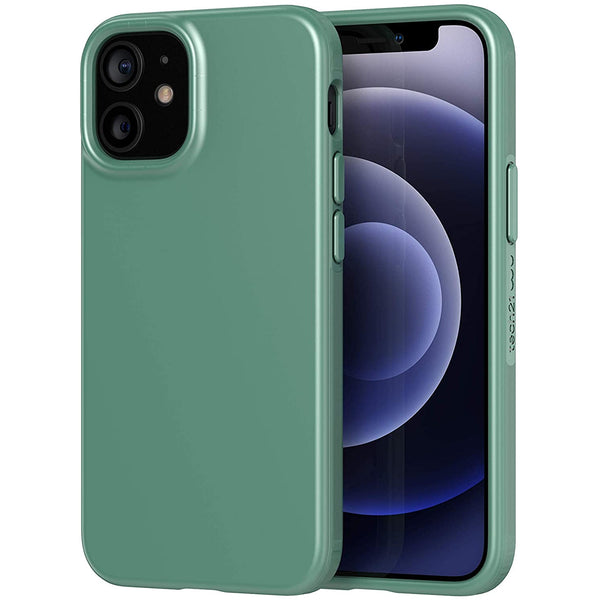 silicone tpu case with anti bacteria technology from tech21 for your iphone 12 mini green mint colour