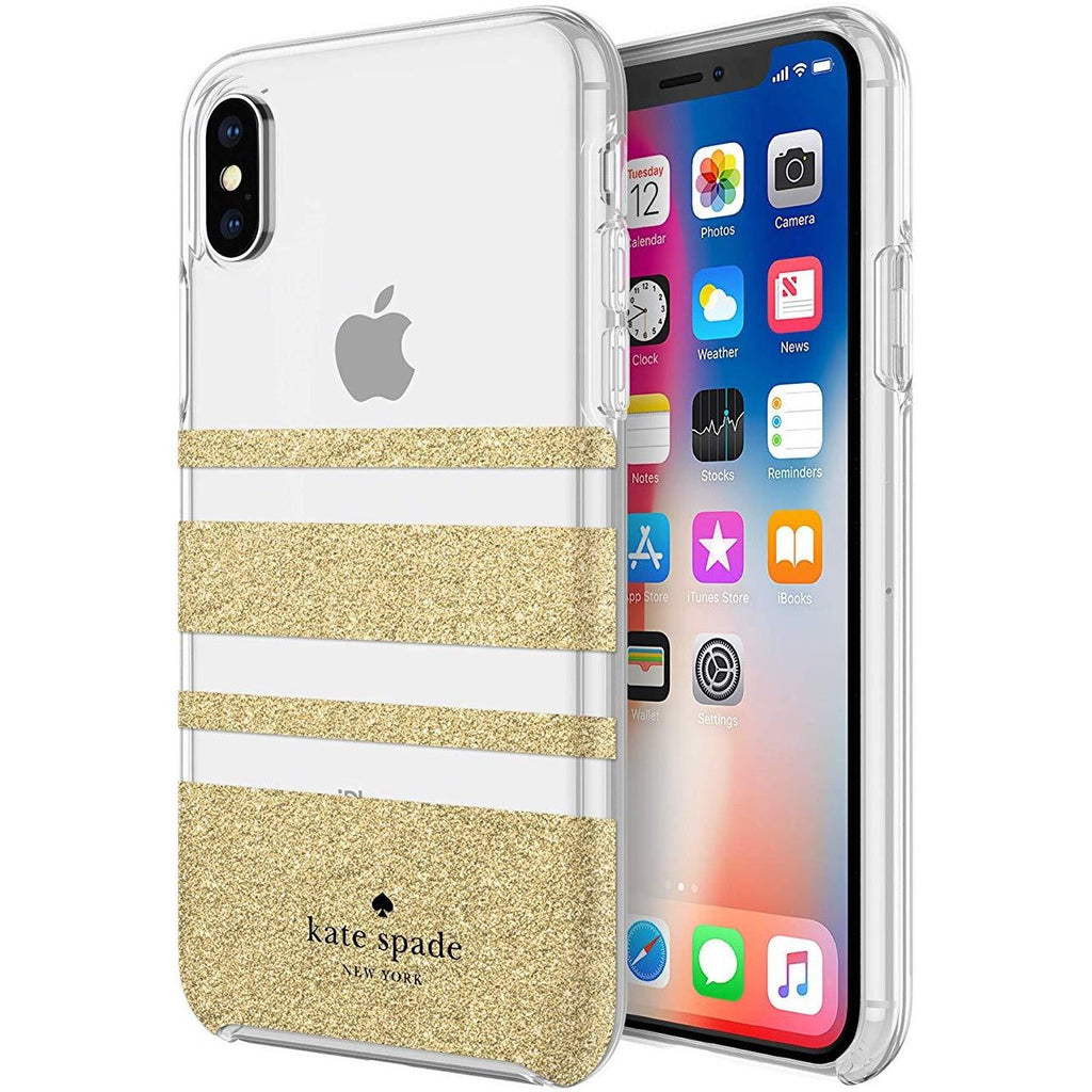 Buy online iphone XS & iPhone X Kate spade stripe gold case Australia stock with free shipping online Australia Stock