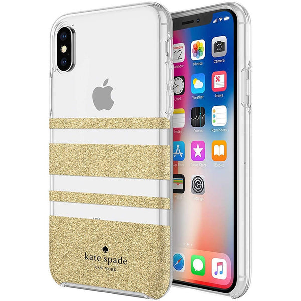 Buy online iphone XS & iPhone X Kate spade stripe gold case Australia stock with free shipping online