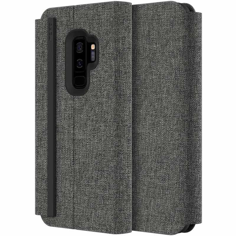 best service e5c7c 199c1 INCIPIO CARNABY ESQUIRE FABRIC CARD FOLIO CASE FOR GALAXY S9 PLUS - GRAY