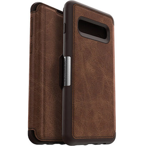 folio leather case with card slots for samsung galaxy s10 plus. brown color from otterbox australia Australia Stock