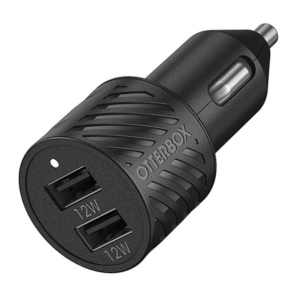 Shop new Car Charger 24W  from OTTERBOX Premium USB-A Dual Port with black minimalist design now comes with free express Australia shipping & local warranty.