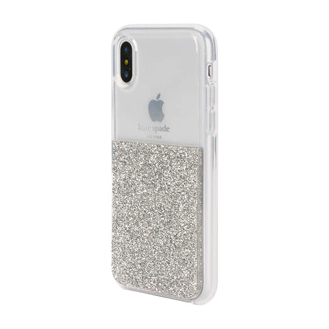 KATE SPADE NEW YORK HALF CLEAR CRYSTAL CASE FOR IPHONE XS/X - SILVER