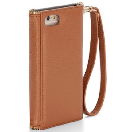 Rebecca Minkoff  M.A.B Tech Wristlet Cover for iPhone 8/7 - Almond Pebble Leather