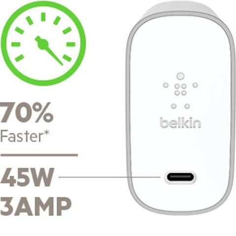BELKIN USB-C 45W/3 AMP HOME WALL CHARGER + CABLE - SILVER