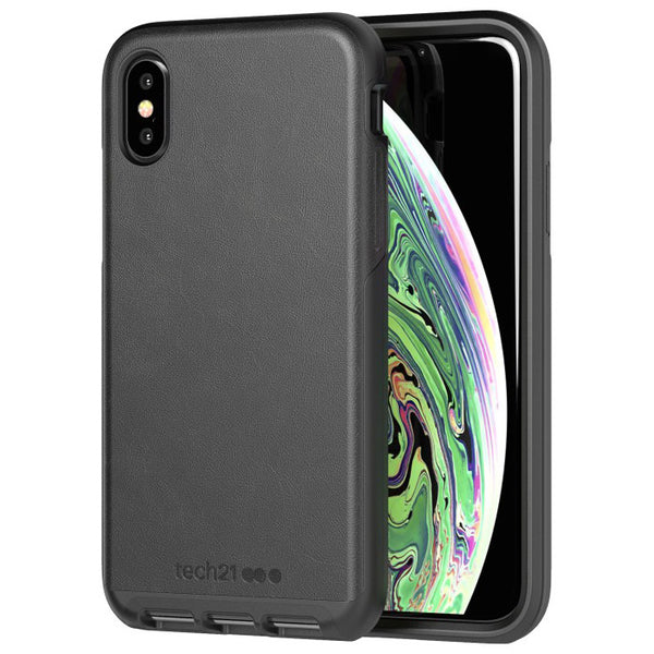 Black leather iPhone Xs & iPhone X case from Tech21 Australia with free shipping