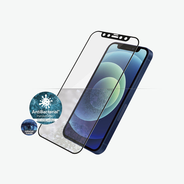 Stay protected with panzerglass iphone 12 mini tempered glass. With antibacterial technology protecting your phone from virus, germs and kids friendly.