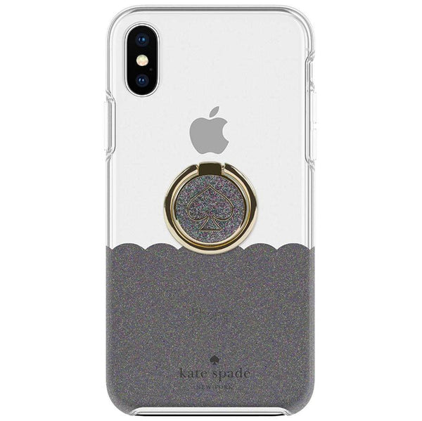 lowest price dc6ce 1c6d8 KATE SPADE NEW YORK GIFT SET PROTECTIVE CASE & RING STAND FOR IPHONE XS/X -  SCALLOP BLACK MULTI/CLEAR