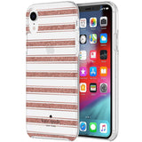KATE SPADE NEW YORK PROTECTIVE HARDSHELL CASE FOR IPHONE XR - ROSE GOLD GLITTER STRIPE/CLEAR