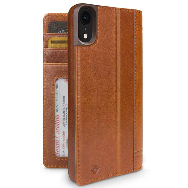 folio leather case with stand and card slots for iphone xr