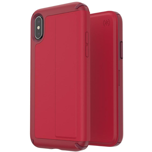 folio leather case for iphone xs max from speck red colour with card slot. shop at syntricate genuine australia with free shipping.