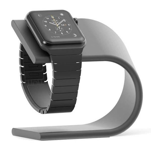 Nomad aluminum charging stand for Apple Watch - Black