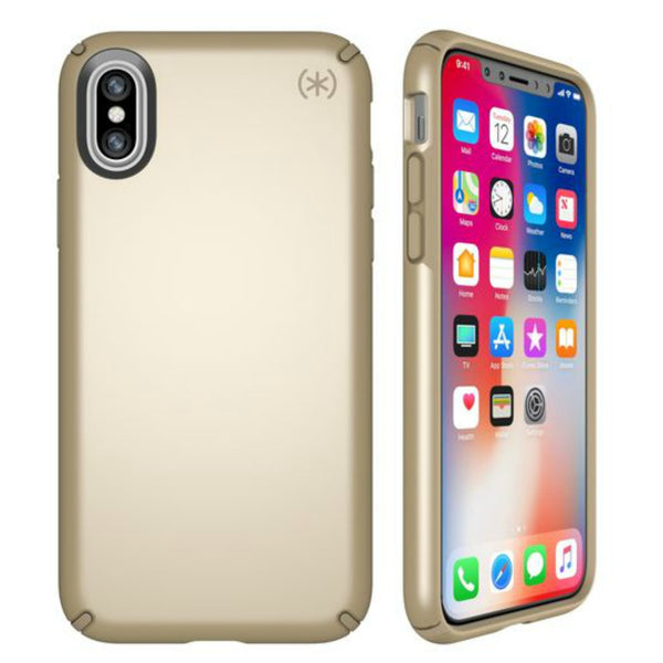 syntricate speck presidio metallic case for iPhone XS / iPhone X - pale yellow gold/camel brown