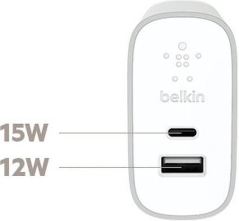 BELKIN HOME WALL CHARGER WITH USB-C & USB-A PORTS - SILVER