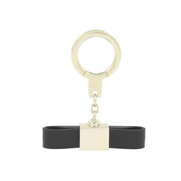 KATE SPADE NEW YORK BOW KEYCHAIN WITH LIGHTNING CABLE -BLACK