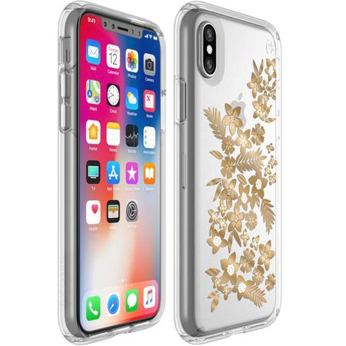 Place to buy genuine and cute design case from Speck Presidio Clear Print Case For iPhone XS / iPhone X - Floral Metallic Gold Yellow. Free shipping Australia express from authorized distributor.