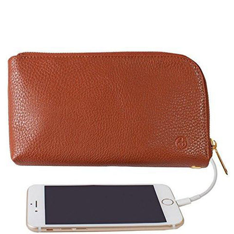 Chic Buds Clutchette Power Portable Charger Charging Purse for Universal - Cognac
