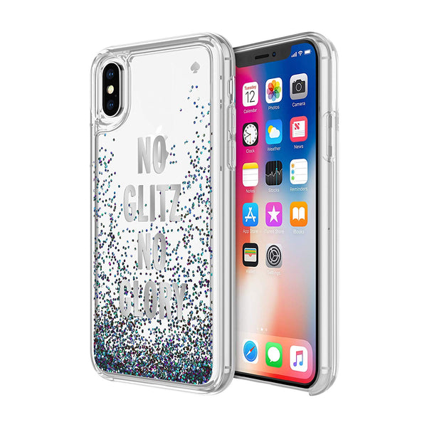 KATE SPADE NEW YORK LIQUID GLITTER CASE FOR IPHONE XS/X - NO GLITZ NO GLORY SILVER FOIL/MERMAID GLITTER