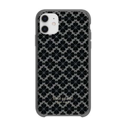 back view of kate spade iphone 11 case with grey pattern for professional girly look.