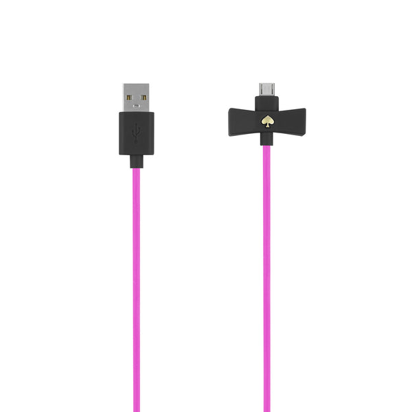 Kate Spade New York Bow Charge / Sync Micro USB Cable 1 meter - Black Snapdragon Bow/Pink Cable