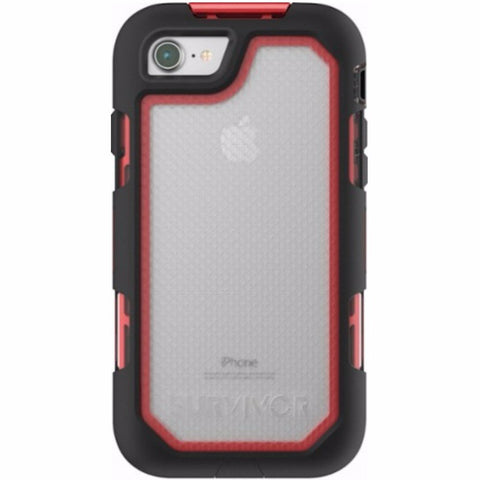 GRIFFIN SURVIVOR EXTREME CASE FOR iPHONE 8/7 - BLACK/RED/TINT