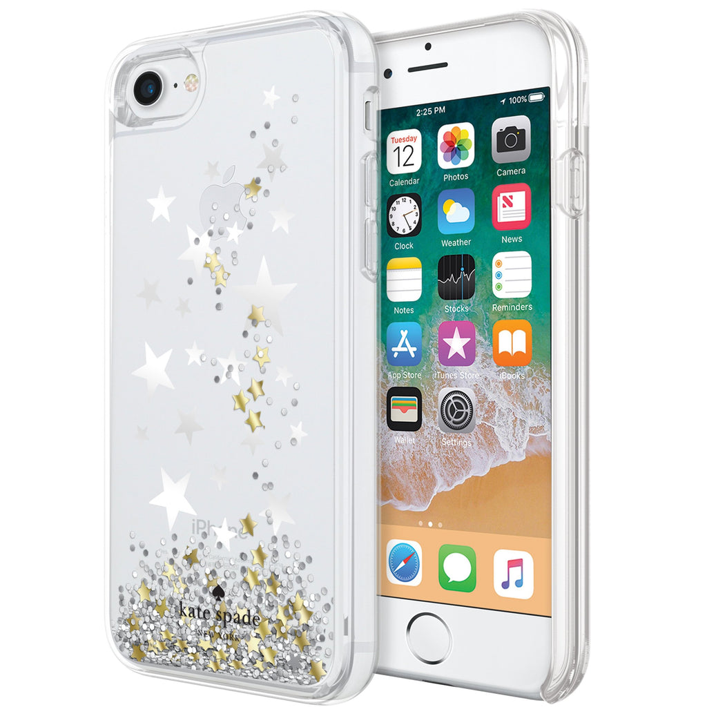 separation shoes 38785 3858b KATE SPADE NEW YORK LIQUID GLITTER CASE FOR IPHONE 8/7 - STARS/GOLD/SILVER