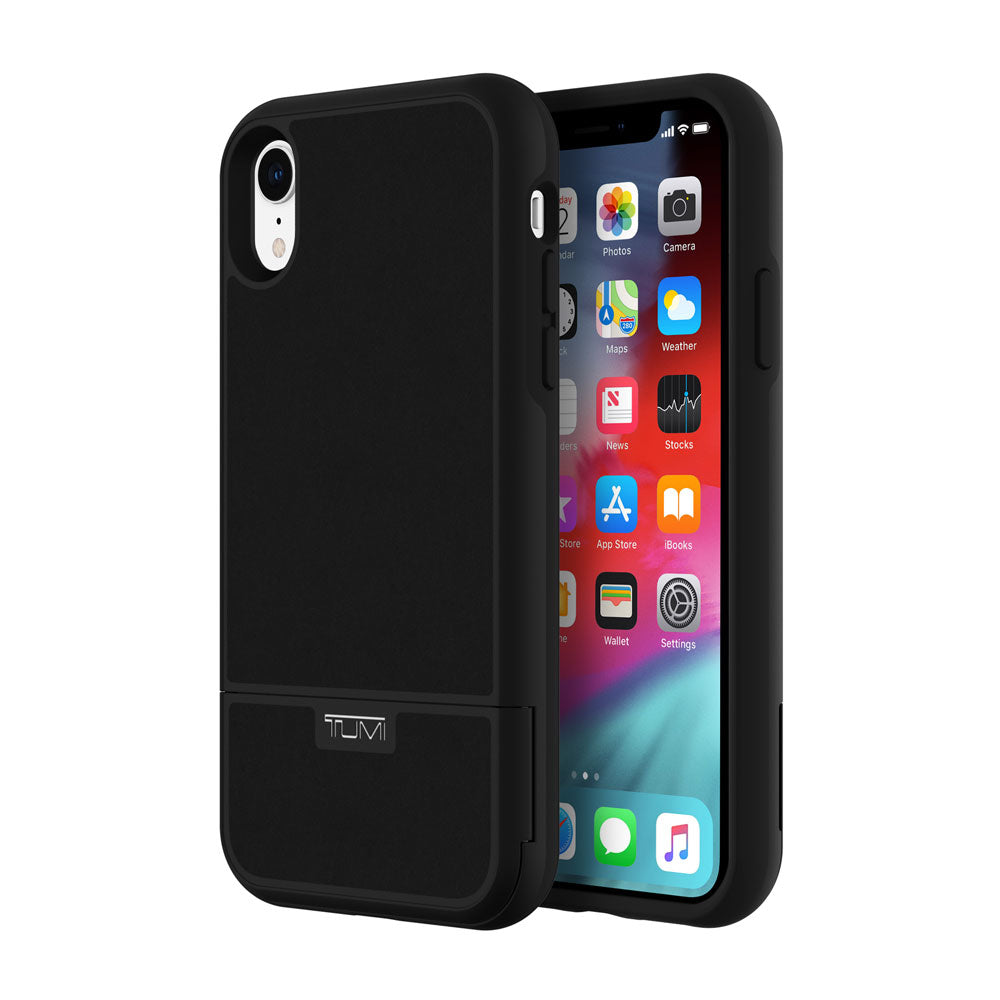 reputable site f1288 a743a TUMI KICKSTAND CARD CASE FOR IPHONE XR - BLACK LEATHER