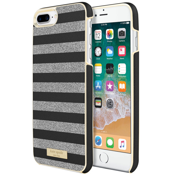 buy unique, chick and cute KATE SPADE NEW YORK WRAP GLITTER STRIPE CASE FOR iPHONE 8 PLUS/7PLUS- BLACK SAFFIANO/SILVER in australia