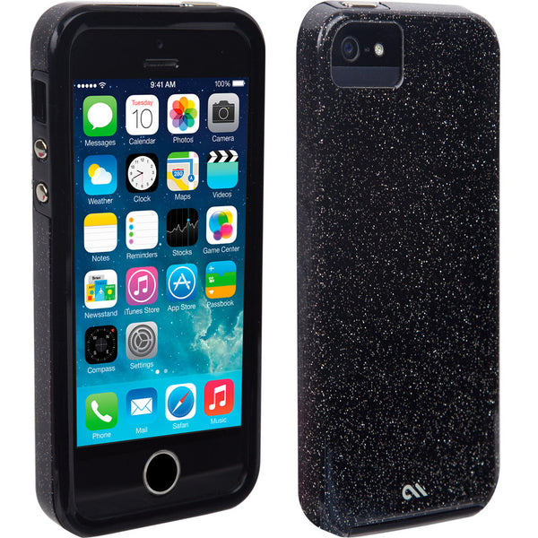 CaseMate Sheer Glam Case for iPhone SE/5s/5 - Noir/Clear Bumper
