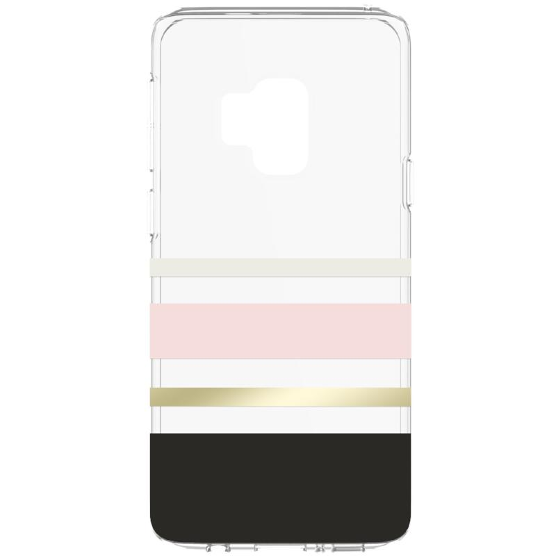 KATE SPADE NEW YORK PROTECTIVE HARDSHELL CASE FOR GALAXY S9 - CHARLOTTE STRIPE BLACK/BLUSH/GOLD FOIL Australia Stock