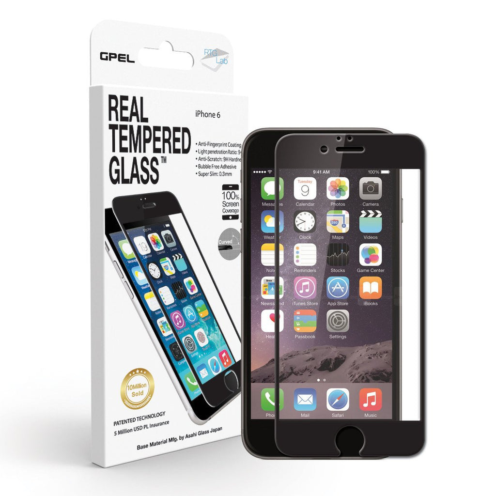 GPEL ASAHI REAL TEMPERED GLASS SCREEN PROTECTOR FOR IPHONE 6S/6 - BLACK Australia Stock