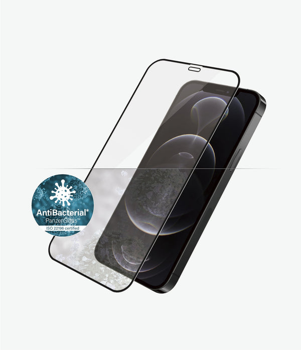Anti bacterial screen protector from panzerglass australia for your latest iphone 12 and 12 pro. Protected from virus, germs and clear screen