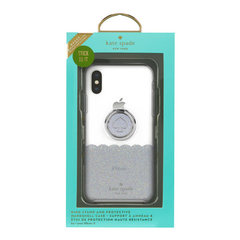 KATE SPADE NEW YORK GIFT SET PROTECTIVE CASE & RING STAND FOR IPHONE XS/X - SCALLOP MERMAID GLITTER/CLEAR