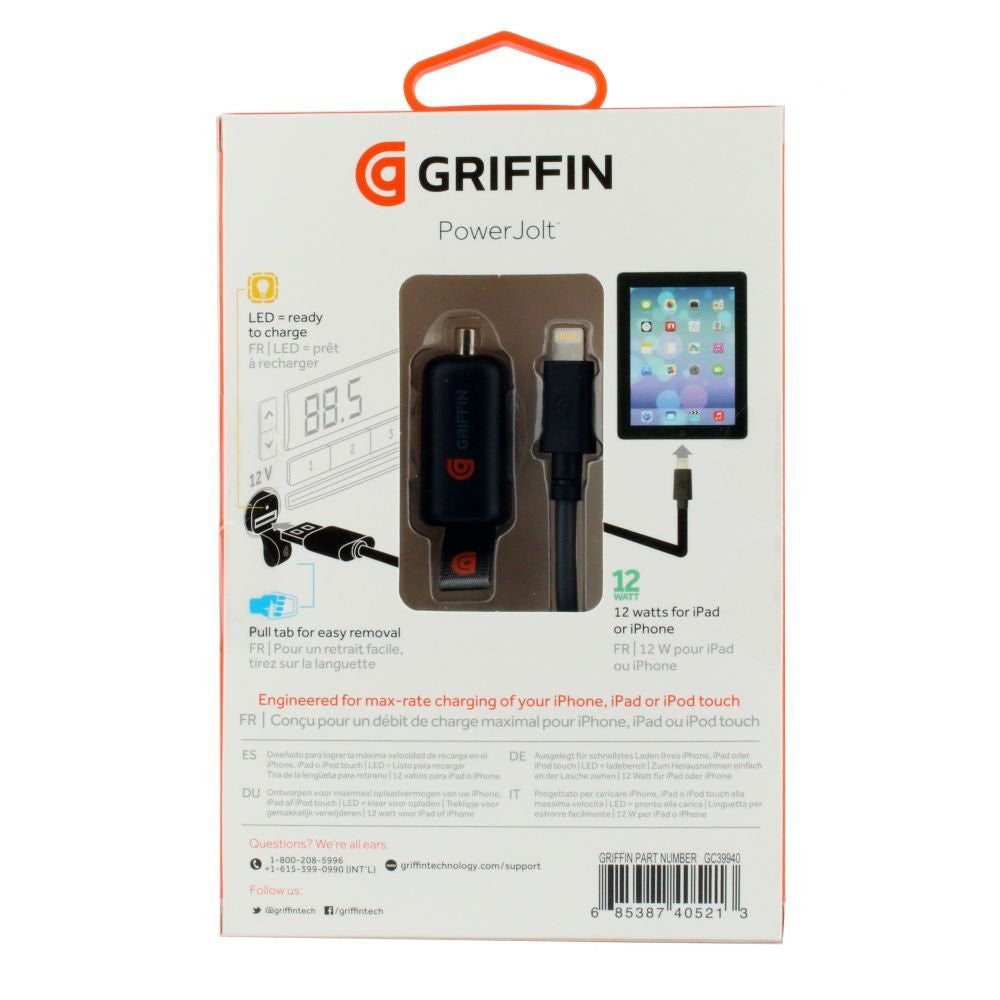 Shop Australia stock Griffin PowerJolt Car Charger with Lightning connector Cable 12W - Black with free shipping online. Shop Griffin collections with afterpay Australia Stock