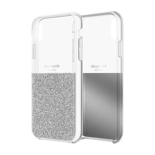 KATE SPADE NEW YORK HALF CLEAR CRYSTAL CASE FOR IPHONE XR - SILVER