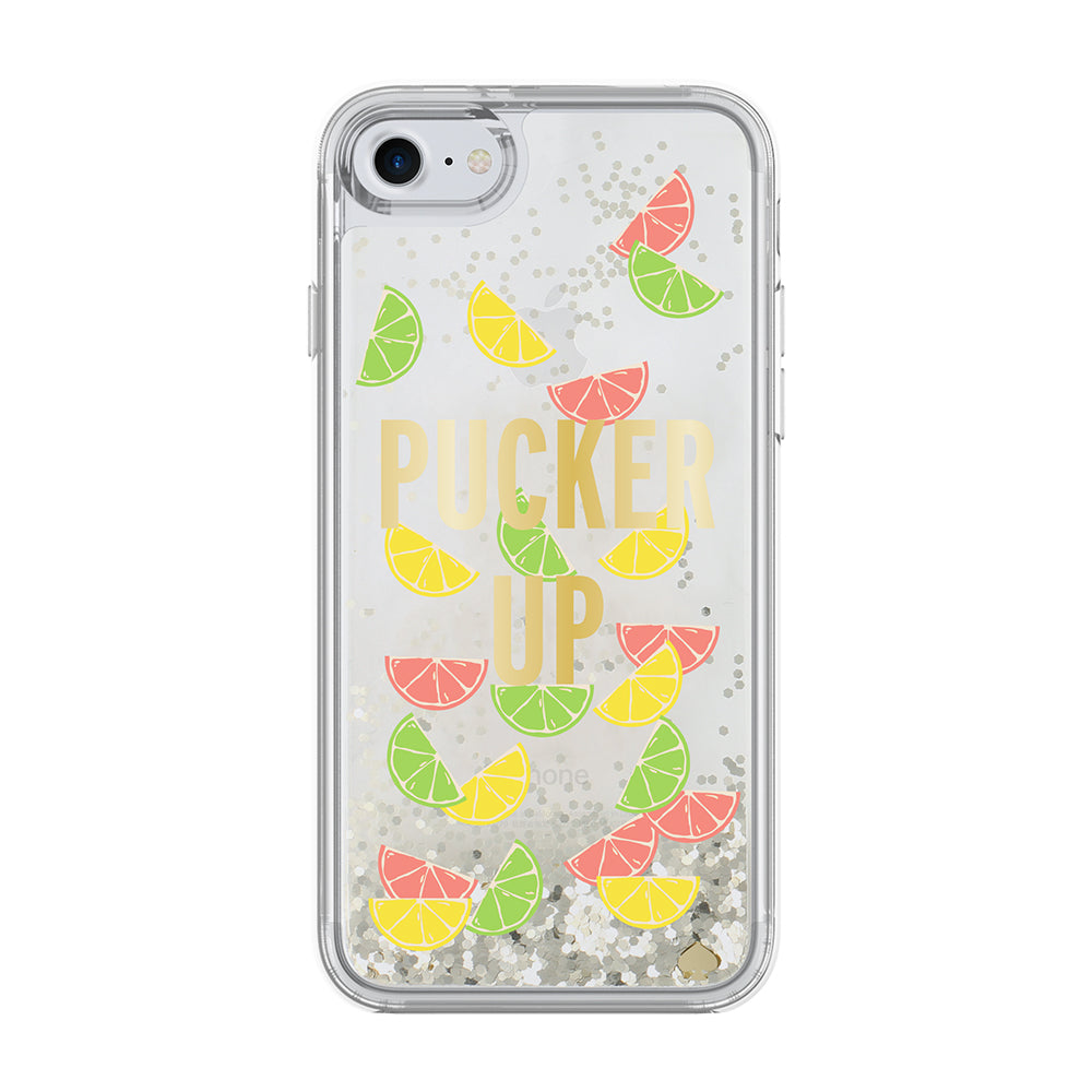 KATE SPADE NEW YORK LIQUID GLITTER CASE FOR IPHONE 8 PLUS/7 PLUS - PUCKER UP/SILVER FOIL GLITTER/CITRUS SLICE Australia Stock