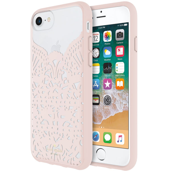 trusted online store to buy genuine and cute fashionable case from Kate Spade New York Lace Cage Case For Iphone 8/7/6S - Lace Hummingbird Blush And Clear. Free shipping australia wide.