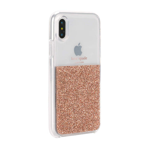 KATE SPADE NEW YORK HALF CLEAR CRYSTAL CASE FOR IPHONE XS/X - ROSE GOLD
