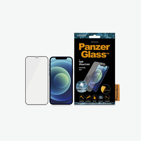 Packaging of new iphone 12 mini tempered glass from panzerglass. Anti bacteri and case friendly screen protector