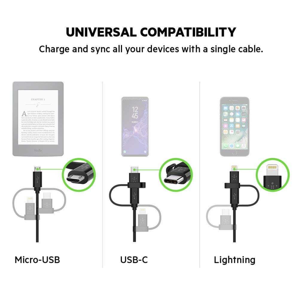 Shop Australia stock BELKIN UNIVERSAL CABLE WITH MICRO-USB, USB-C AND LIGHTNING CONNECTORS 1.2 METER - BLACK with free shipping online. Shop Belkin collections with afterpay Australia Stock