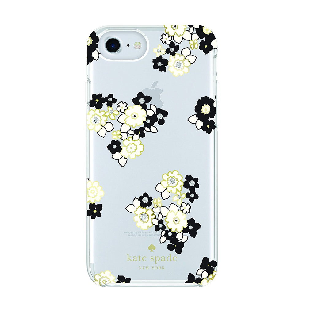 KATE SPADE NEW YORK PROTECTIVE HARDSHELL CASE FOR iPHONE 8/7/6S - FLORAL BURST CLEAR/BLACK/GEMS Australia Stock