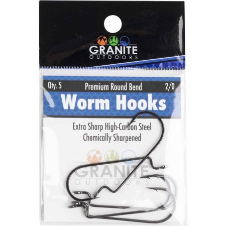 Granite Outdoors - Premium Round Bend Worm Hooks 2/0 - Buck's Custom Lures